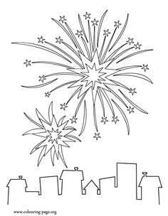 New Year's fireworks coloring page