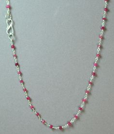 "LINDA'S DARK PINK MALAY JADE  & SILVER FINISHD BRASS 17"" BEADED CHOKER NECKLACE #LindasCabsJewelryGemstones #Choker"