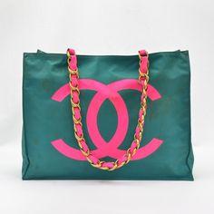 Chanel Vintage Green & Pink Nylon
