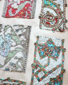 Embroidered samples from my family ribbon & silk archives. These are some of the earliest ribbons we created circa 1870.   #silk #handmade #passementerie #dspattern #pattern #dscolor #ribbon #trim #inspiration #madeinfrance #frenchstyle #embroidery