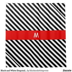 Black and White Diagonal Stripes Shower Curtain