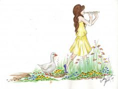 85 X 11 Print of Original Watercolor The Flute by LittleMissEm, $10.00