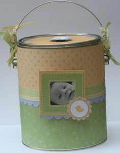 Paint Can Baby shower gift idea with thank you cards and baby brag book