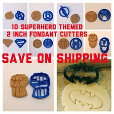 10 Superhero themed 2 inch Fondant or Cookie Cutter 3D Printed on Etsy, $55.00 batman superman iron man hulk captain America the flash green lantern avengers shield spiderman