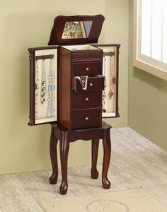Traditional Cherry Finish Jewelry Armoire Lingerie Chest by Coaster  http://www.cccstores.com/cherry-jewelry-armoire-coaster-903800.html #jewelry #armoires #necklace #bracelets #earrings #cherry #wooden #furniture #business
