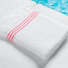 Stripe Border Pool Towel - Neon Pink / 35x70 | Sobel At Home