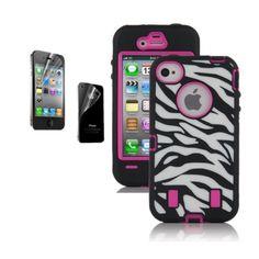 Zebra iPhone 4/ 4s case with pink around otterbox #amazon