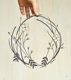 arrows + wildflowers . original papercut . 11 x 14 . cut paper art on Etsy, $100.00