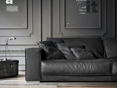 Sectional leather sofa BUDAPEST SOFT by BAXTER design Paola Navone