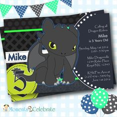 Dragons Invitation, How to Train Your Dragon Birthday Invitation, Toothless Invitations, Birthday Invites, Digital Invitations - Dragon Birthday Parties, Dragon Party, 4th Birthday, How To Train Your, How Train Your Dragon, Digital Invitations, Birthday Invitations, Toothless Party, Toothless Cake