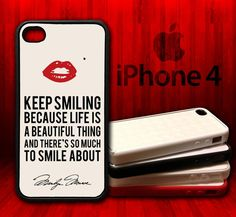 Marilyn Monroe Keep Smiling Quote  -  iPhone 4 and 4s Rubber Protective Case on Etsy, $15.99