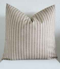 Decorative pillow - throw pillow - accent pillow - designer fabric - 20 X 20 - brown and beige stripes