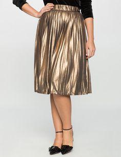 3f5e091c77a Studio Pleated Metallic Skirt from eloquii.com Metallic Pleated Skirt