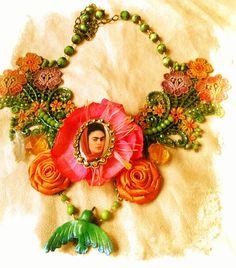 Collar Frida Kahlo diseñado por #Deseos Divinos#Guadalajara, Jal.