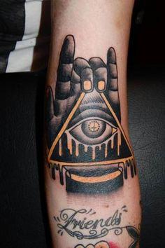 Does this mean that the Illuminati are into metal? #inked #inkedmag #tattoo #illuminati #hand #black #ink #idea