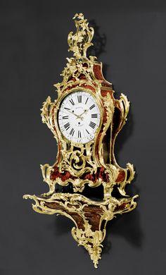 IMPRESSIVE RED TORTOISESHELL CLOCK WITH PLINTH, Louis XV, the case signed GOSSELIN (Antoine Gosselin, maitre 1752, or Adrien Antoine Gosselin, maitre 1772), the dial signed MARTIN A PARIS (Jean Martin, maitre 1746), Paris circa 1760.