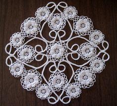 White Doily Irish Crochet Lace Irish Roses via Etsy