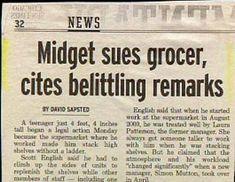 funny headlines | Funny Quirky Strange News: Funny Midget News Belittling Remarks