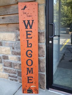 Welcome Outdoor Primitive Porch Yard Sign. This is OOAK Trick or Treaters Welcome wood sign. Gorgeous on the front porch or yard. Stands 5 foot tall and 12 inches wide. Back painted solid color as well. Clear coated for your protection. Store in a dry place for years of enjoyment. Comes in painted ( pictured ) or lightly distressed painted. Use drop down option for choices. Special introductory price of just $64.99 !!!.
