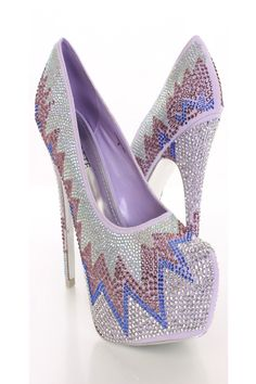 Purple Rhinestone Pattern Pump Heels