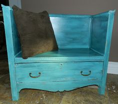 dresser to bench...sweet idea! looks perfect for by the door to put on your shoes n sit down!!!