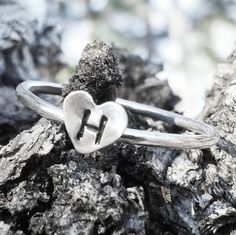Custom Initial Ring  Heart Ring  by JanuaryJewelryShop on Etsy, $24.00