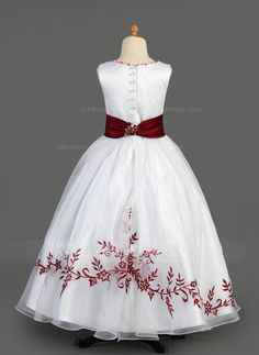 A-Line/Princess Scoop Neck Floor-length Embroidered Sash Beading Appliques Organza Charmeuse Sleeveless Flower Girl Dress Flower Girl Dress