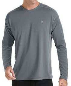Coolibar grey long sleeve UV Protective Men's Sport T-shirts UPF 50+ soft, light and fast drying