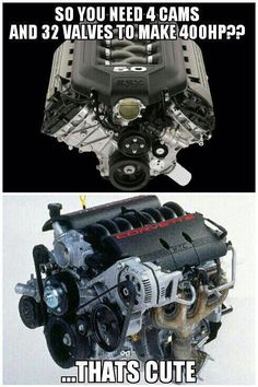 For people who own a Corvette and need to compare a engine with a smaller unit. Car Memes, Car Humor, Truck Memes, Ford Jokes, Ls Swap, Ls Engine, Mechanic Humor, Gm Car, Fast Cars