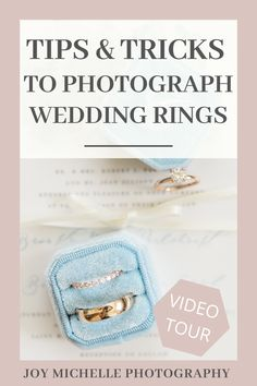 Today's video is all about how to get better photographs of wedding rings. Whether you're photographing weddings, engagements, or just macro photography in general, it can be tricky to get the images to come out the way you want. #JoyMichellePhotography #Photoboss #WeddingRings #PhotographyEducation #HowToPhotographWeddingRings Professional Wedding Photography, Wedding Photography Tips, Photography Tips For Beginners, Macro Photography, Photography Tutorials, Photography Ideas, Wedding Photographer Checklist, Wedding Photographer Outfit, Photography Pricing