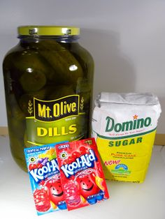 """""""Koolickles"""" ~ Kool-Aid Pickles:  Koolickes are simply dill pickles that have been allowed to soak in a strong mix of Kool-Aid and brine. Koolickles combine two flavors, sweet and sour."""