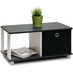 Furinno 99954BK/BK Coffee Table with Bin Drawer, Black White ($30) ❤ liked on Polyvore featuring home, furniture, tables, accent tables, black white furniture, drawer table, drawer coffee table, black and white coffee table and drawer furniture