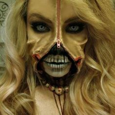 halloween diy makeup -- zipper face with a skull face painted underneath.  this would take a long time but the finished product is TOTALLY worth