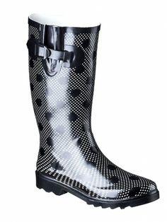 cute and cheap rain boots. Black and whit polka dot rain boots super cute. Cheap Rain Boots, Cute Rain Boots, Rubber Rain Boots, Polka Dot Rain Boots, Singing In The Rain, Autumn Fashion, Polka Dots, Heaven, Super Cute