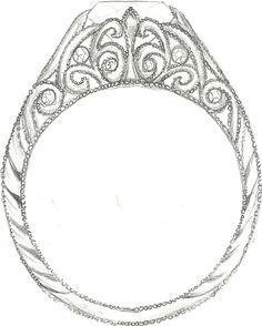 Mark Schneider Design - custom art deco engagement ring