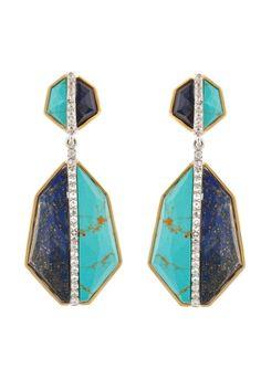 18k gold, lapis lazuli & turquoise earrings // kara ross