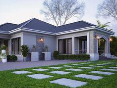 By is part of House plans - Modern Bungalow House, Bungalow House Plans, Bedroom House Plans, Dream House Plans, Modern House Plans, Village House Design, Village Houses, House Paint Exterior, Dream House Exterior