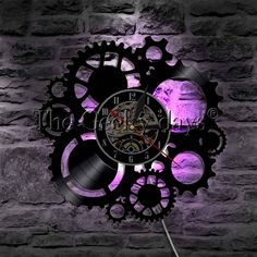 Buy Steampunk Clock Vinyl Wall Art Wires Gear Vinyl Record Wall Clock Steampunk Cogs Decor Modern Wall Art(Wiht LED Light) at Wish - Shopping Made Fun Led Wall Lamp, Led Wall Lights, Vinyl Wall Art, Home Wall Art, Modern Wall Art, Modern Decor, Wall Clock Wooden, Wall Clocks, Steampunk Clock