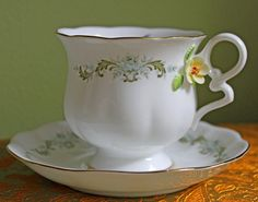 Porcelain Teacup Saucer Set.  Cup and Saucer by AnythingDiscovered