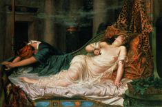 The Death of Cleopatra by Reginald Arthur, (Public Domain). According to historical accounts, Cleopatra committed suicide by allowing a snake known as an asp to bite her. Queen Cleopatra, Cleopatra History, Women In History, Art History, Ancient History, Ancient Rome, Roman History, Ancient Art, Painting Art