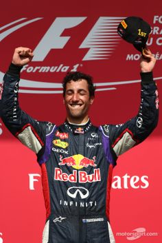 Daniel Ricciardo celebrating his first GP win on the podium - 2014 Canadian GP