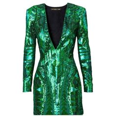 Pre-owned Balmain X H&m - Sequin Embroidered Dress (1.501.315 COP) ❤ liked on Polyvore featuring dresses, green, long sleeve cocktail dresses, green dress, short tight dresses, long sleeve v neck dress and long sleeve fitted dress