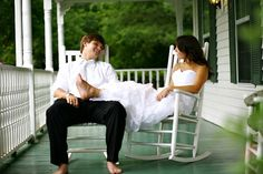 Love oneday, wedding pics, rocking chairs, southern weddings, wedding photos, southern charm, bride, wedding pictures, front porches