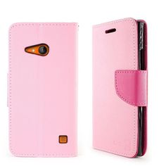 Premium Fancy Wallet Microsoft Lumia 735 Case - Light Pink/Hot Pink