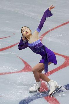 Satoko Miyahara of Japan  Ladies Short  Rostelecom Cup  2013, Purple Figure Skating / Ice Skating dress inspiration for Sk8 Gr8 Designs.