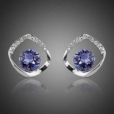 Noble White Gold Plated Blue Stellux Austrian Crystal Stud Earrings  #rings #earrings #necklace #womensfashion #fashion #jewelry #women #khaista #dresses