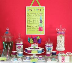 bright sparkly Christmas party decor