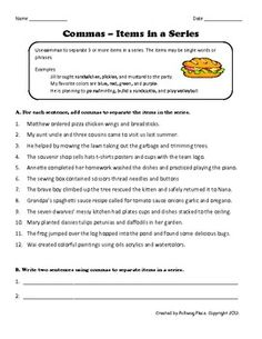 Printables Commas In A Series Worksheet the ojays commas in a series and heart on pinterest