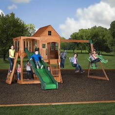 Pacific View Wooden Swing Set. The Pacific View swing set has an awesome upper clubhouse with second level sun porch. Down below there is a two-level play deck / sand box and a half picnic table. A standard ladder and solid rock wall allow climbing to be both easy and challenging. The 10' speedy slide is fast and fun! This play set has two belt swings and a two-person glider so four can swing at once. Made from 100% cedar wood that is pre-cut, pre-drilled, and pre-stained for ease of…