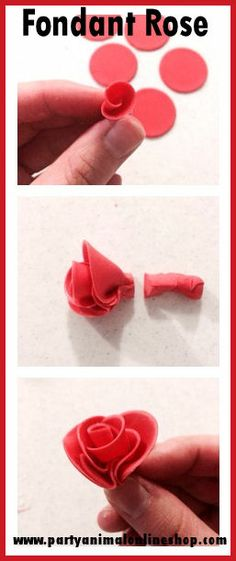 Easy fondant rose tutorial. All you need is a round cutter, some flower paste/ sugarpaste or fondant and away you go! A lovely little idea for Valentines cupcake toppers.